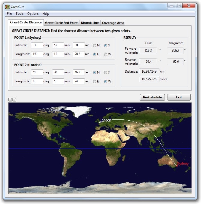 Gunamoi software greatcirc main features great circle distance calculation find the shortest distance and direction between two points gumiabroncs Images